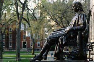 Side View of Statue of John Harvard by Daniel Chester French